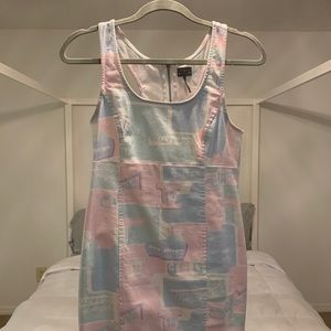 Travel Themed Pastel Denim Dress